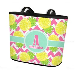 Pineapples Bucket Tote w/ Genuine Leather Trim (Personalized)