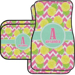 Pineapples Car Floor Mats Set - 2 Front & 2 Back (Personalized)