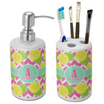 Pineapples Ceramic Bathroom Accessories Set (Personalized)