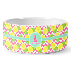 Pineapples Ceramic Dog Bowl (Personalized)