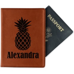 Pineapples Leatherette Passport Holder (Personalized)