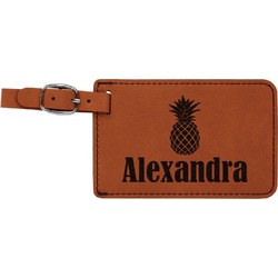 Pineapples Leatherette Luggage Tag (Personalized)