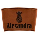 Pineapples Leatherette Cup Sleeve (Personalized)