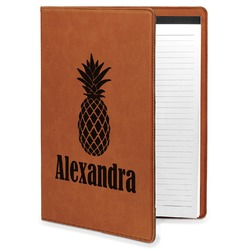 Pineapples Leatherette Portfolio with Notepad - Large - Single Sided (Personalized)