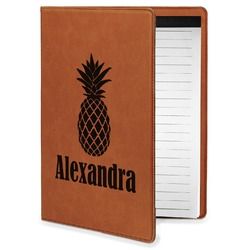 Pineapples Leatherette Portfolio with Notepad - Small - Single Sided (Personalized)