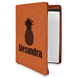 Pineapples Leatherette Zipper Portfolio with Notepad (Personalized)