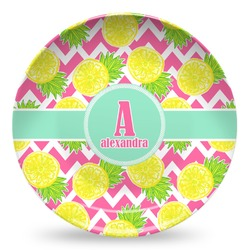 Pineapples Microwave Safe Plastic Plate - Composite Polymer (Personalized)
