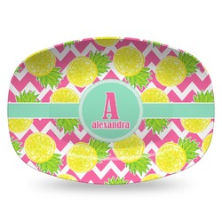 Pineapples Plastic Platter - Microwave & Oven Safe Composite Polymer (Personalized)
