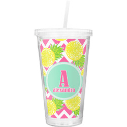 Pineapples Double Wall Tumbler with Straw (Personalized)