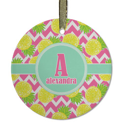 Pineapples Flat Glass Ornament - Round w/ Name and Initial