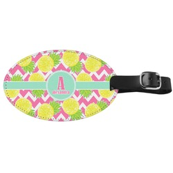 Pineapples Genuine Leather Oval Luggage Tag (Personalized)