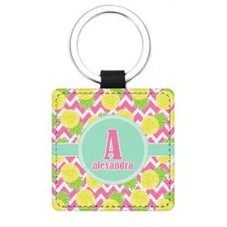 Pineapples Genuine Leather Rectangular Keychain (Personalized)
