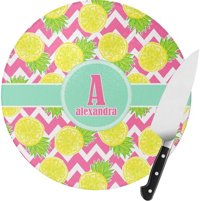 Pineapples Round Glass Cutting Board (Personalized)
