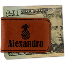 Pineapples Leatherette Magnetic Money Clip (Personalized)