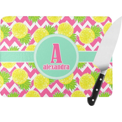 Pineapples Rectangular Glass Cutting Board (Personalized)