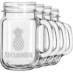 Pineapples Mason Jar Mugs (Set of 4) (Personalized)