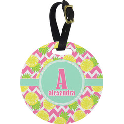 Pineapples Round Luggage Tag (Personalized)