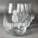Pineapples Stemless Wine Glasses (Set of 4) (Personalized)