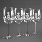 Pineapples Wine Glasses (Set of 4) (Personalized)