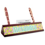Pineapples Red Mahogany Nameplate with Business Card Holder (Personalized)