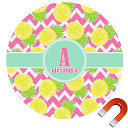 Pineapples Round Car Magnet (Personalized)