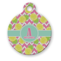 Pineapples Round Pet ID Tag (Personalized)