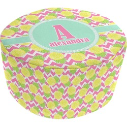 Pineapples Round Pouf Ottoman (Personalized)