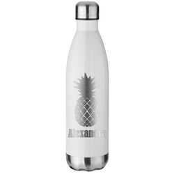 Pineapples White Water Bottle - 26 oz. Stainless Steel (Personalized)