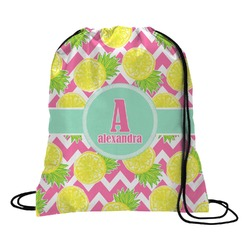 Pineapples Drawstring Backpack - Large (Personalized)