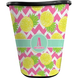 Pineapples Waste Basket - Double Sided (Black) (Personalized)