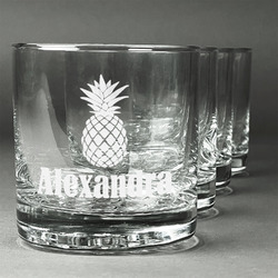 Pineapples Whiskey Glasses (Set of 4) (Personalized)