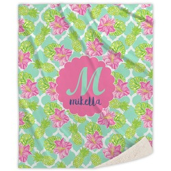 Preppy Hibiscus Sherpa Throw Blanket (Personalized)