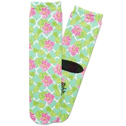 Preppy Hibiscus Adult Crew Socks (Personalized)