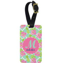 Preppy Hibiscus Metal Luggage Tag w/ Name and Initial