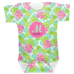 Preppy Hibiscus Baby Bodysuit 0-3 (Personalized)