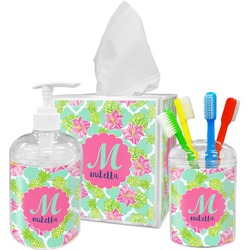 Preppy Hibiscus Bathroom Accessories Set (Personalized)