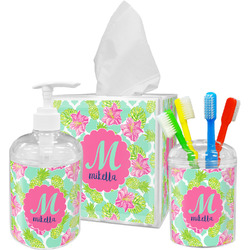 Preppy Hibiscus Acrylic Bathroom Accessories Set w/ Name and Initial