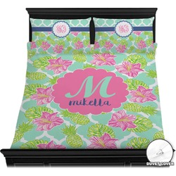 Preppy Hibiscus Duvet Cover Set (Personalized)