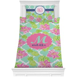Preppy Hibiscus Comforter Set - Twin XL (Personalized)