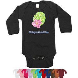 Preppy Hibiscus Bodysuit - Long Sleeves - 0-3 months (Personalized)