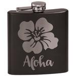 Preppy Hibiscus Black Flask Set (Personalized)
