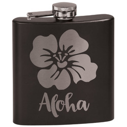 Preppy Hibiscus Black Flask (Personalized)