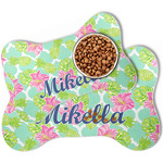 Preppy Hibiscus Bone Shaped Dog Food Mat (Personalized)