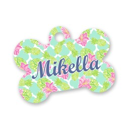 Preppy Hibiscus Bone Shaped Dog ID Tag (Personalized)