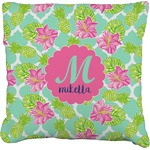 Preppy Hibiscus Faux-Linen Throw Pillow (Personalized)