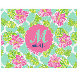 Preppy Hibiscus Woven Fabric Placemat - Twill w/ Name and Initial