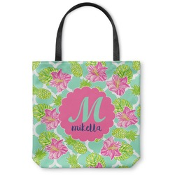 Preppy Hibiscus Canvas Tote Bag (Personalized)