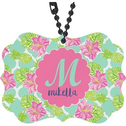Preppy Hibiscus Rear View Mirror Decor (Personalized)
