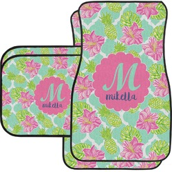 Preppy Hibiscus Car Floor Mats Set - 2 Front & 2 Back (Personalized)