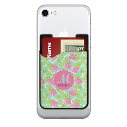 Preppy Hibiscus 2-in-1 Cell Phone Credit Card Holder & Screen Cleaner (Personalized)